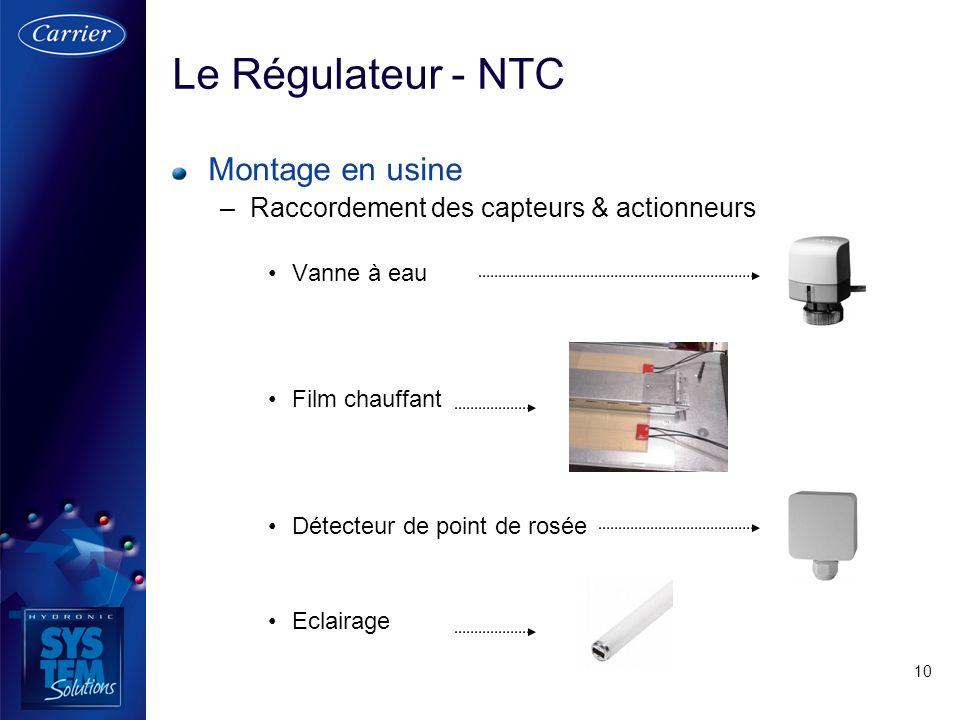 10 Montage en usine –Raccordement des capteurs & actionneurs Vanne à eau Film chauffant Détecteur de point de rosée Eclairage Le Régulateur - NTC