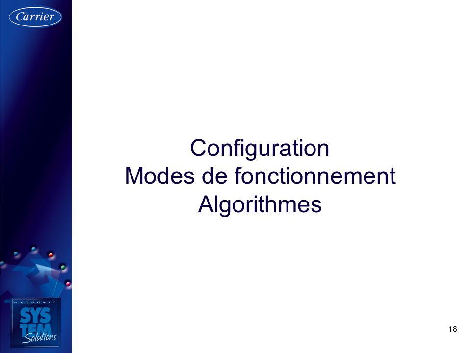 18 Configuration Modes de fonctionnement Algorithmes