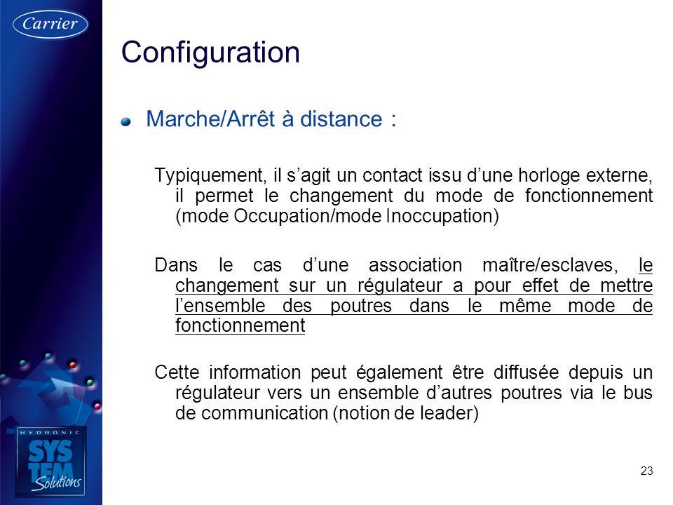 23 Marche/Arrêt à distance : Typiquement, il sagit un contact issu dune horloge externe, il permet le changement du mode de fonctionnement (mode Occup
