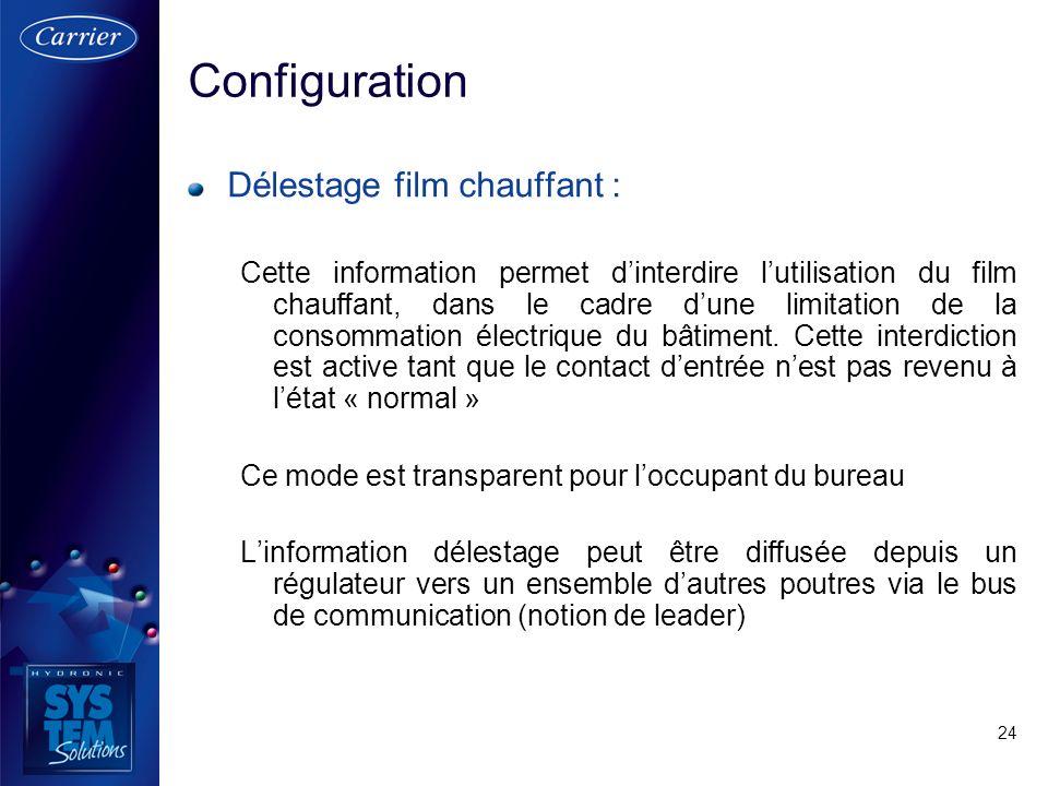 24 Délestage film chauffant : Cette information permet dinterdire lutilisation du film chauffant, dans le cadre dune limitation de la consommation éle