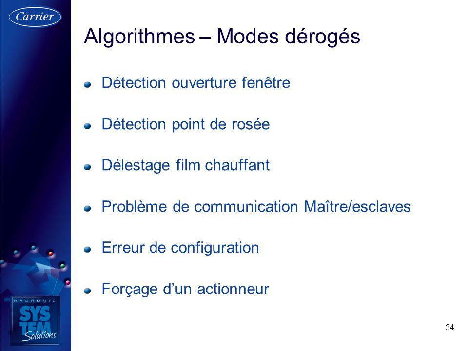 34 Algorithmes – Modes dérogés Détection ouverture fenêtre Détection point de rosée Délestage film chauffant Problème de communication Maître/esclaves