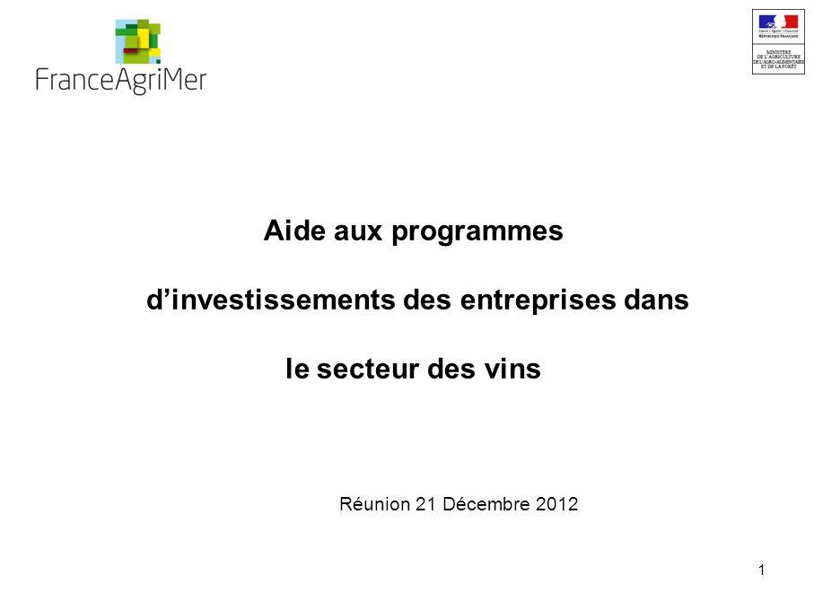 1 Aide aux programmes dinvestissements des entreprises dans le secteur des vins Réunion 21 Décembre 2012