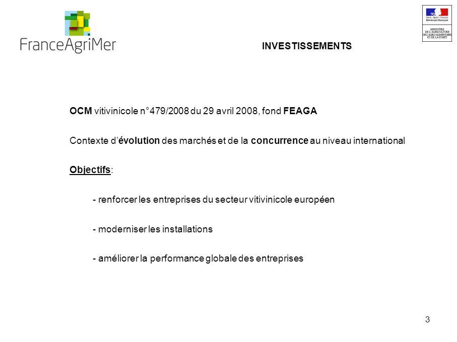 3 INVESTISSEMENTS OCM vitivinicole n°479/2008 du 29 avril 2008, fond FEAGA Contexte dévolution des marchés et de la concurrence au niveau international Objectifs: - renforcer les entreprises du secteur vitivinicole européen - moderniser les installations - améliorer la performance globale des entreprises