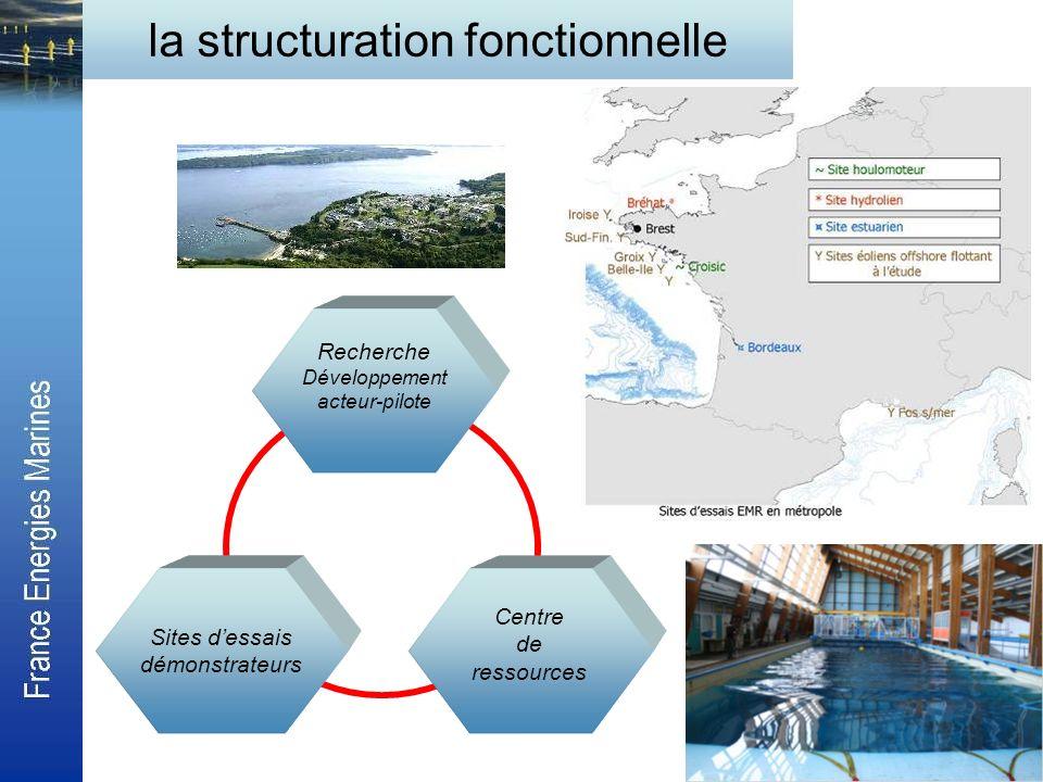 la structuration fonctionnelle Recherche Développement acteur-pilote Sites dessais démonstrateurs Centre de ressources