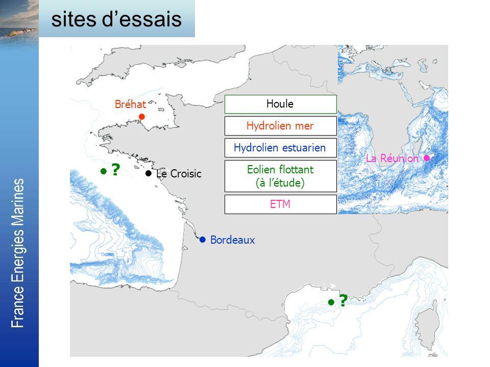 Houle Hydrolien mer Hydrolien estuarien Eolien flottant (à létude) Le Croisic Bréhat Bordeaux ? La Réunion ETM sites dessais ?
