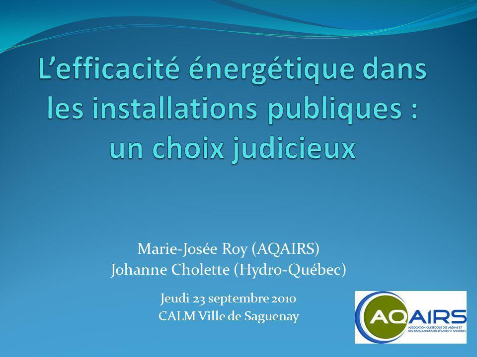 Marie-Josée Roy (AQAIRS) Johanne Cholette (Hydro-Québec) Jeudi 23 septembre 2010 CALM Ville de Saguenay