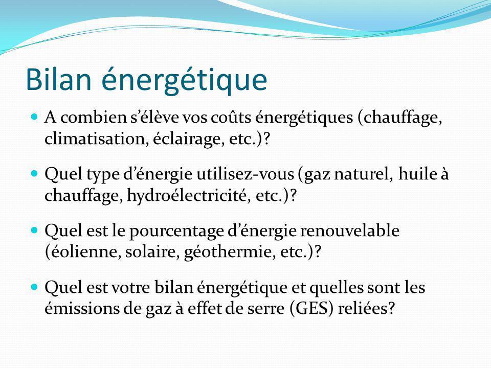 Bilan énergétique A combien sélève vos coûts énergétiques (chauffage, climatisation, éclairage, etc.).