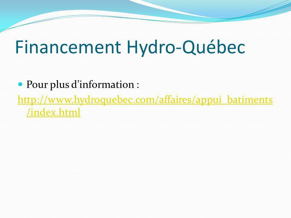 Financement Hydro-Québec Pour plus dinformation : http://www.hydroquebec.com/affaires/appui_batiments /index.html