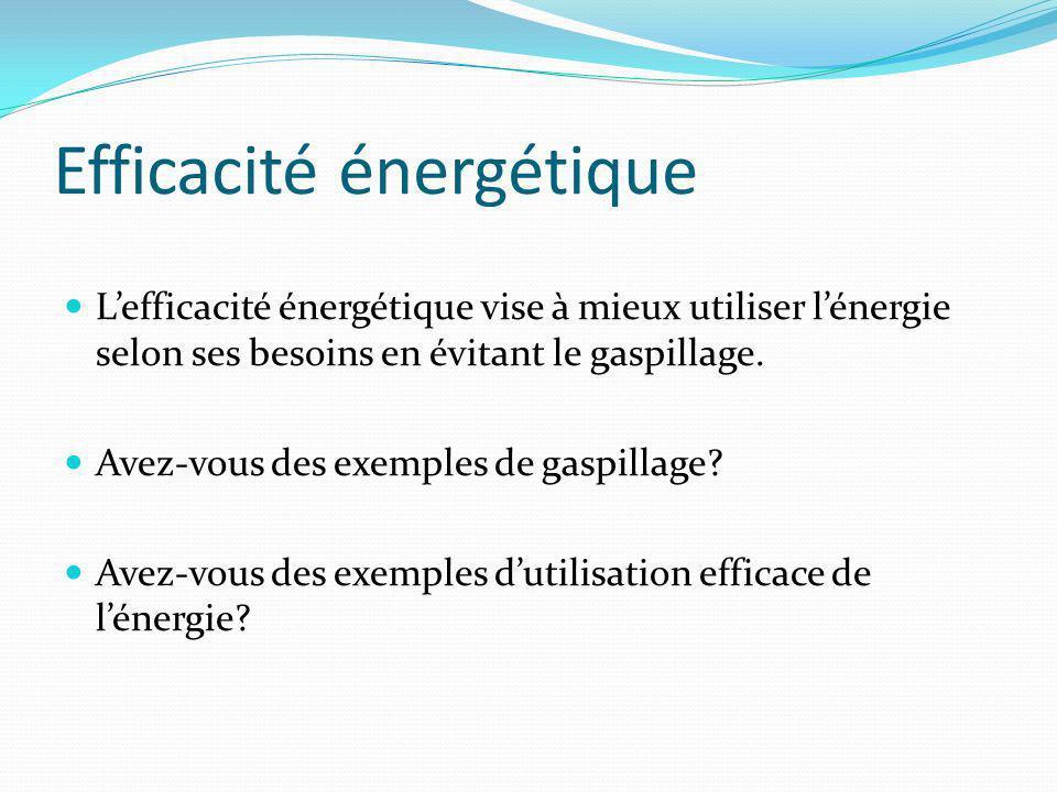 Efficacité énergétique Lefficacité énergétique vise à mieux utiliser lénergie selon ses besoins en évitant le gaspillage.