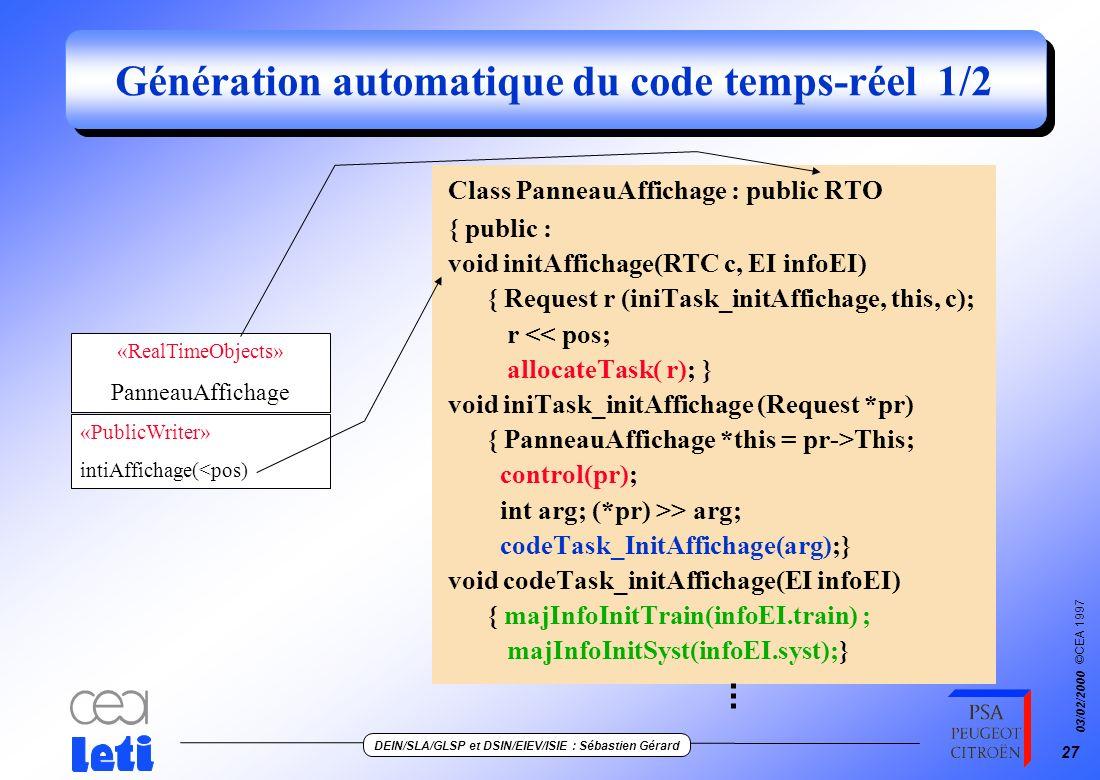 ©CEA 1997 DEIN/SLA/GLSP et DSIN/EIEV/ISIE : Sébastien Gérard 03/02/2000 26 Description du modèle utilisateur Class PanneauAffichage { public : PortPA