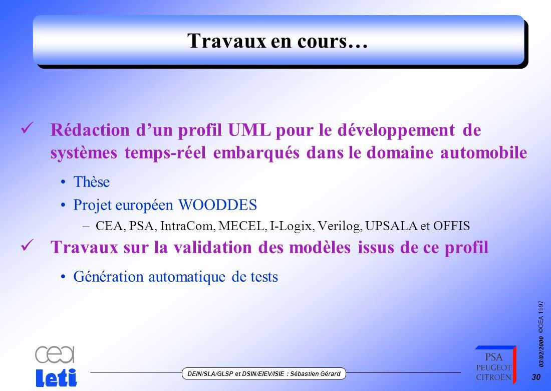 ©CEA 1997 DEIN/SLA/GLSP et DSIN/EIEV/ISIE : Sébastien Gérard 03/02/2000 29 Intérêt de cette démarche par profil UML Guider Contrôlerle développement d