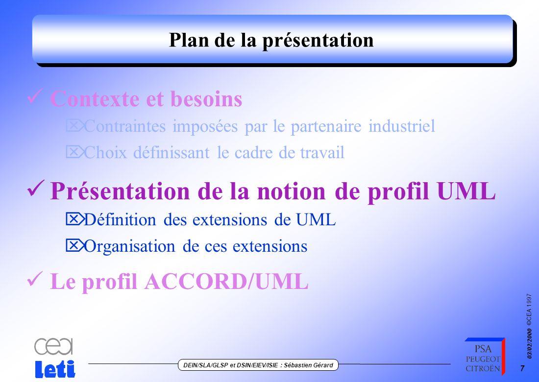 ©CEA 1997 DEIN/SLA/GLSP et DSIN/EIEV/ISIE : Sébastien Gérard 03/02/2000 27 Génération automatique du code temps-réel 1/2 Class PanneauAffichage : public RTO { public : void initAffichage(RTC c, EI infoEI) { Request r (iniTask_initAffichage, this, c); r << pos; allocateTask( r); } void iniTask_initAffichage (Request *pr) { PanneauAffichage *this = pr->This; control(pr); int arg; (*pr) >> arg; codeTask_InitAffichage(arg);} void codeTask_initAffichage(EI infoEI) { majInfoInitTrain(infoEI.train) ; majInfoInitSyst(infoEI.syst);} «RealTimeObjects» PanneauAffichage «PublicWriter» intiAffichage(<pos)