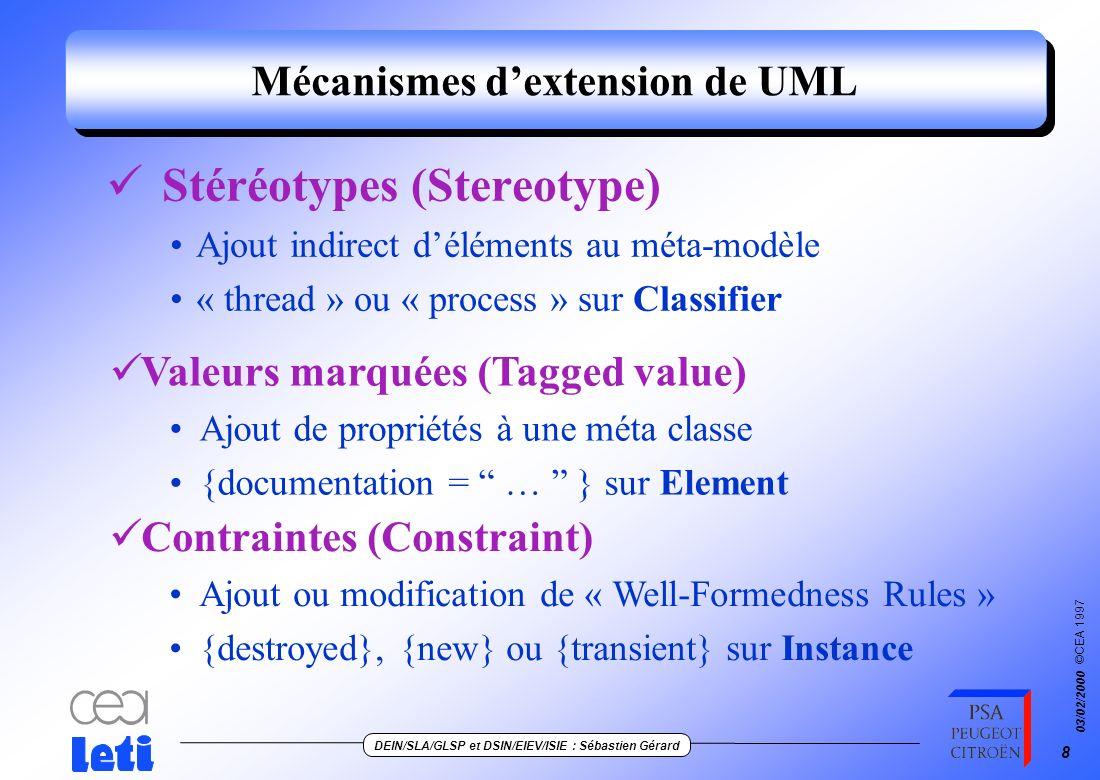 ©CEA 1997 DEIN/SLA/GLSP et DSIN/EIEV/ISIE : Sébastien Gérard 03/02/2000 8 Mécanismes dextension de UML Stéréotypes (Stereotype) Ajout indirect déléments au méta-modèle « thread » ou « process » sur Classifier Valeurs marquées (Tagged value) Ajout de propriétés à une méta classe {documentation = … } sur Element Contraintes (Constraint) Ajout ou modification de « Well-Formedness Rules » {destroyed}, {new} ou {transient} sur Instance