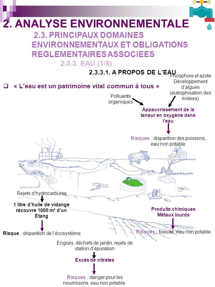 « Leau est un patrimoine vital commun à tous » Appauvrissement de la teneur en oxygène dans leau Risques : disparition des poissons, eau non potable Polluants organiques Phosphore et azote Développement dalgues (eutrophisation des rivières) Produits chimiques Métaux lourds Risques : toxicité, eau non potable Engrais, déchets de jardin, rejets de station dépuration Excès de nitrates Risques : danger pour les nourrissons, eau non potable.