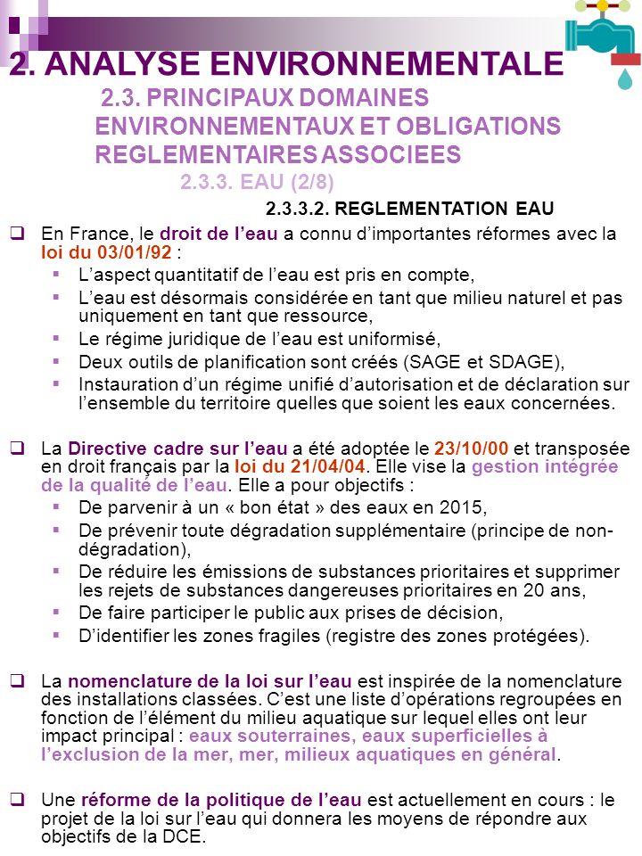 En France, le droit de leau a connu dimportantes réformes avec la loi du 03/01/92 : Laspect quantitatif de leau est pris en compte, Leau est désormais