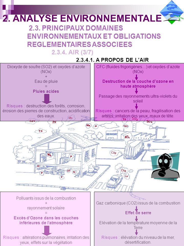 Dioxyde de soufre (SO2) et oxydes dazote (NOx) + Eau de pluie = Pluies acides Risques : destruction des forêts, corrosion, érosion des pierres de construction, acidification des eaux.