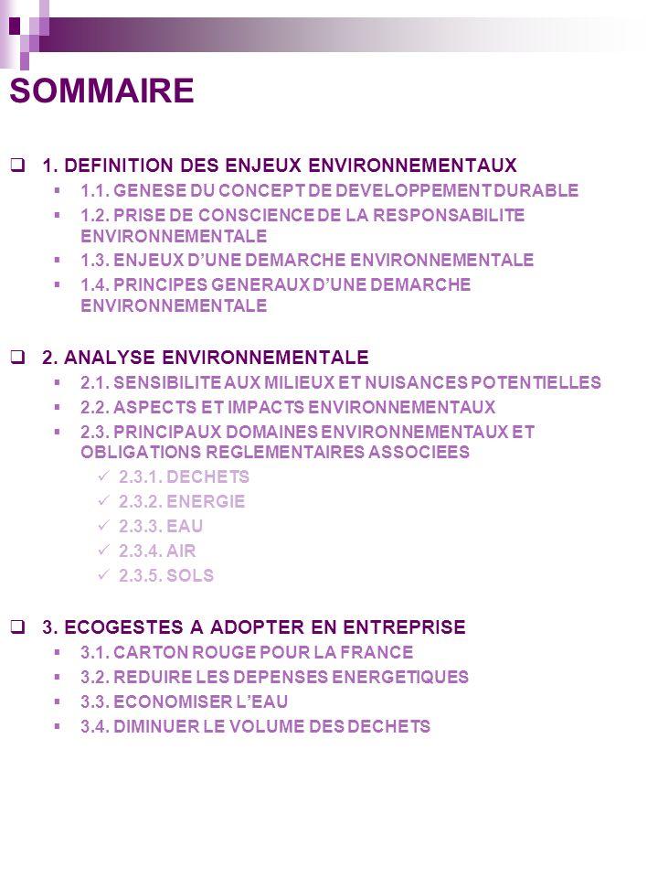 SOMMAIRE 1.DEFINITION DES ENJEUX ENVIRONNEMENTAUX 1.1.