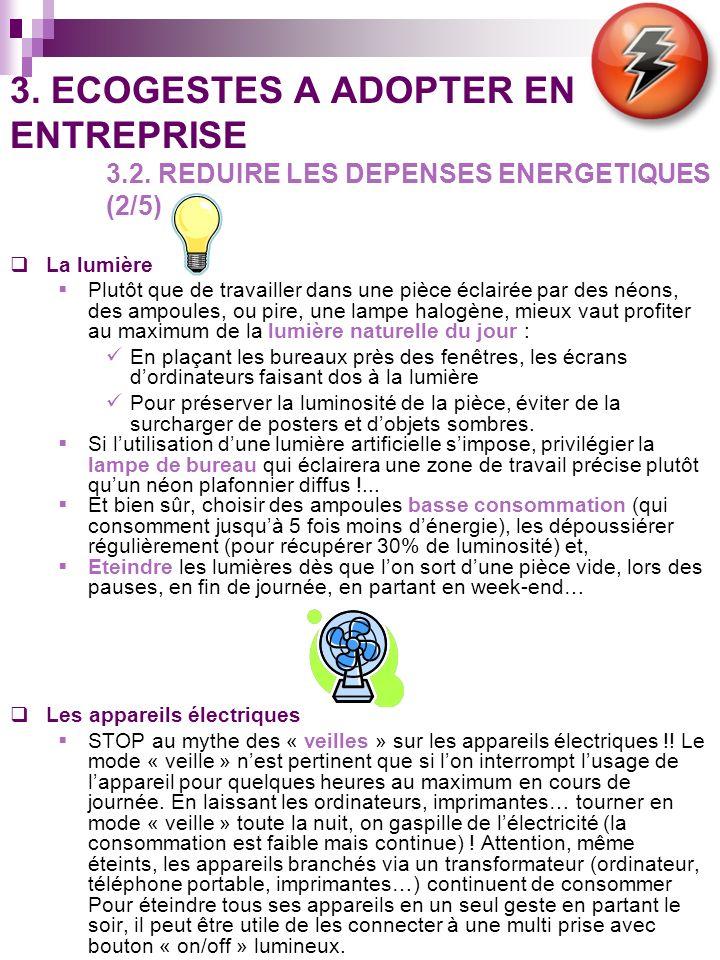 3. ECOGESTES A ADOPTER EN ENTREPRISE 3.2. REDUIRE LES DEPENSES ENERGETIQUES (2/5) La lumière Plutôt que de travailler dans une pièce éclairée par des