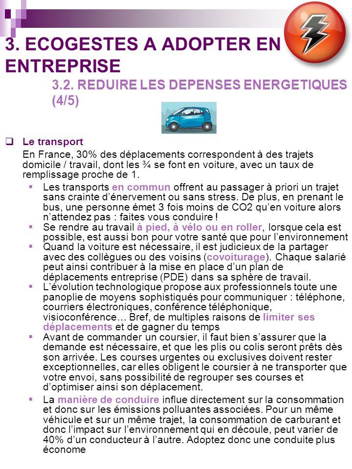 3. ECOGESTES A ADOPTER EN ENTREPRISE 3.2. REDUIRE LES DEPENSES ENERGETIQUES (4/5) Le transport En France, 30% des déplacements correspondent à des tra