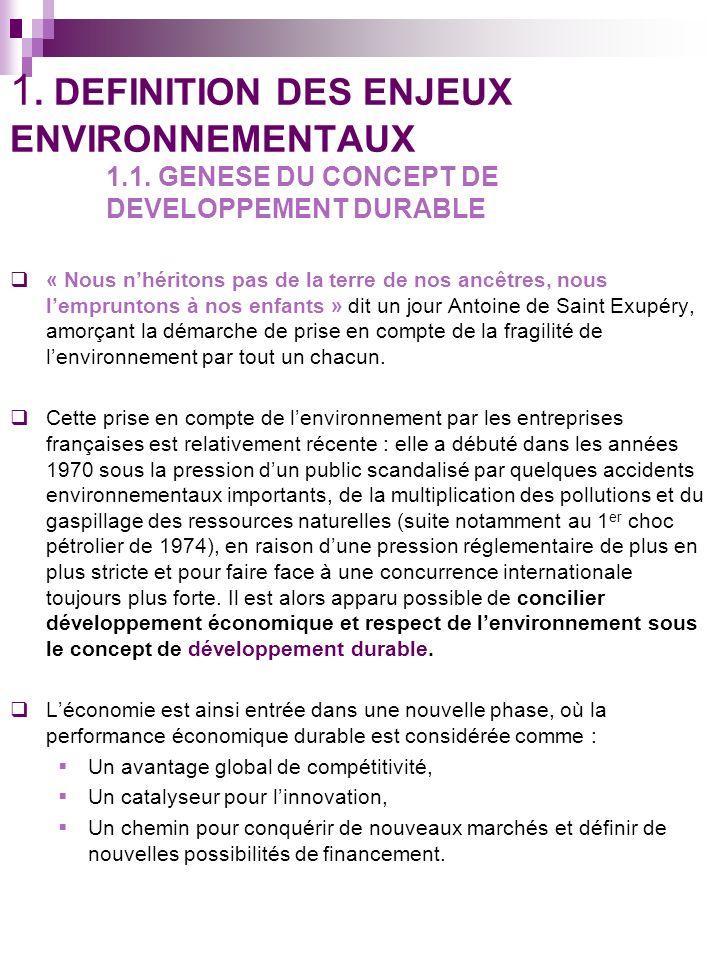 1.DEFINITION DES ENJEUX ENVIRONNEMENTAUX 1.1.