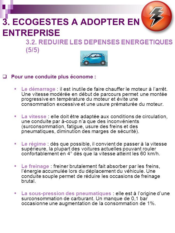 3. ECOGESTES A ADOPTER EN ENTREPRISE 3.2. REDUIRE LES DEPENSES ENERGETIQUES (5/5) Pour une conduite plus économe : Le démarrage : il est inutile de fa