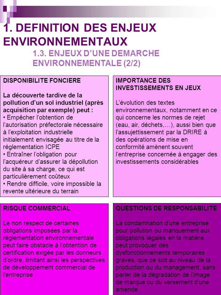 La 1 ère démarche dune entreprise en terme denvironnement est la mise en conformité de son activité avec les exigences administratives et légales.