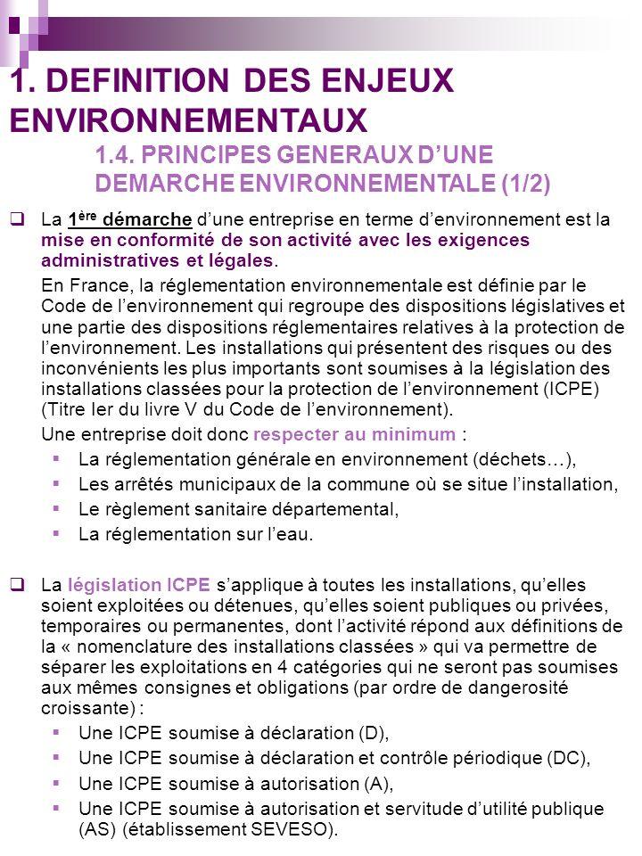 La 1 ère démarche dune entreprise en terme denvironnement est la mise en conformité de son activité avec les exigences administratives et légales. En