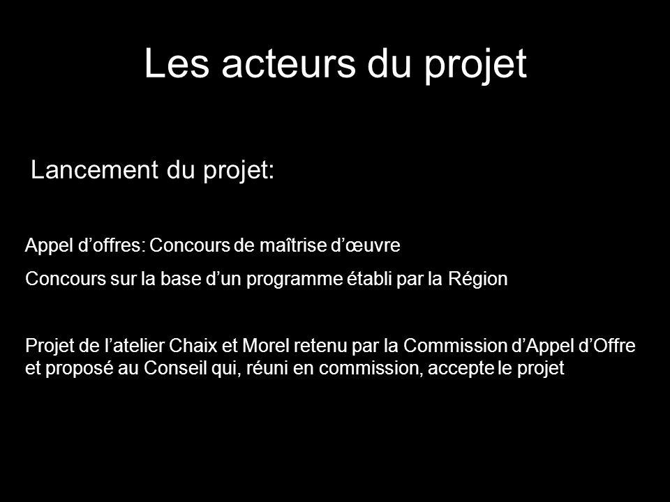 Les acteurs du projet Lancement du projet: Appel doffres: Concours de maîtrise dœuvre Concours sur la base dun programme établi par la Région Projet d