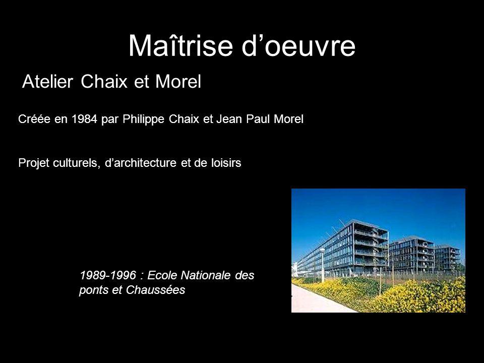 Maîtrise doeuvre Atelier Chaix et Morel Créée en 1984 par Philippe Chaix et Jean Paul Morel Projet culturels, darchitecture et de loisirs 1989-1996 :