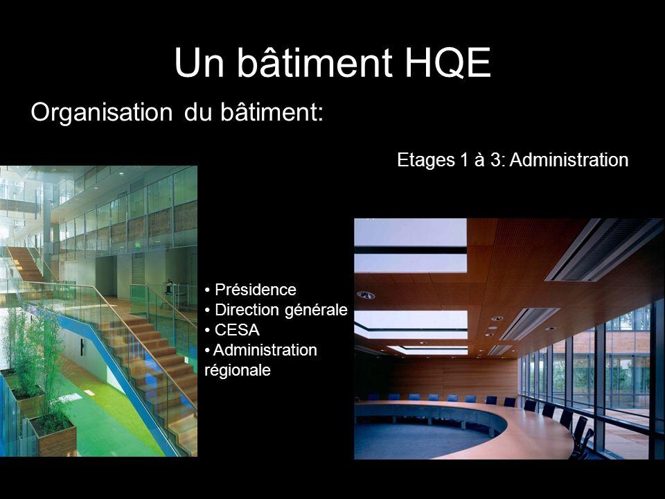 Organisation du bâtiment: Un bâtiment HQE Etages 1 à 3: Administration Présidence Direction générale CESA Administration régionale
