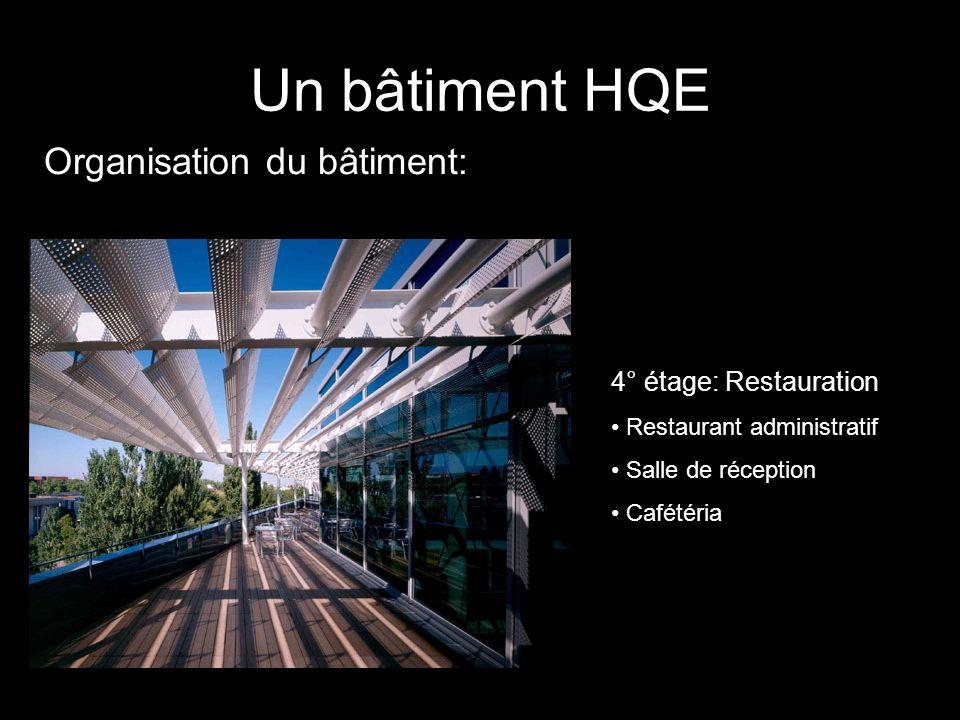 Organisation du bâtiment: Un bâtiment HQE 4° étage: Restauration Restaurant administratif Salle de réception Cafétéria