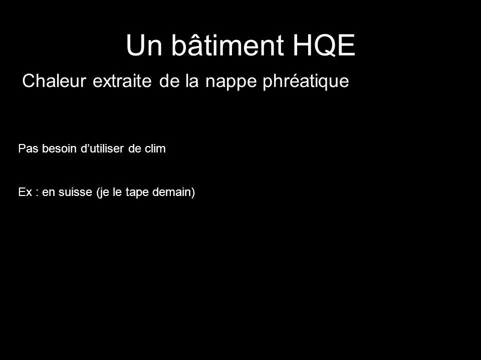 Un bâtiment HQE Chaleur extraite de la nappe phréatique Pas besoin dutiliser de clim Ex : en suisse (je le tape demain)