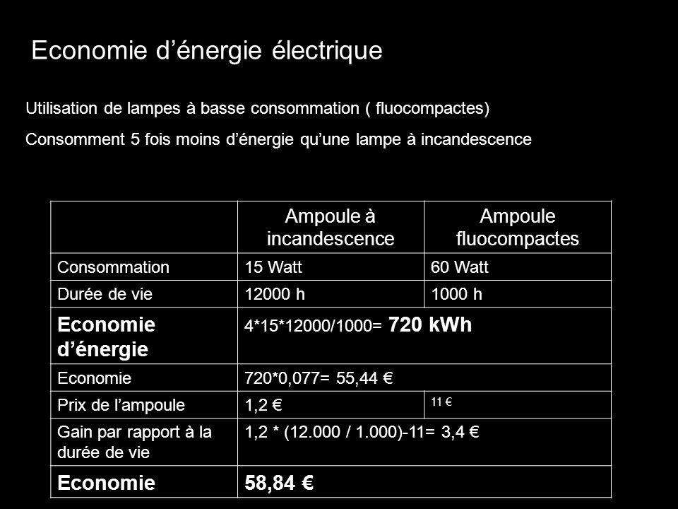 Economie dénergie électrique Utilisation de lampes à basse consommation ( fluocompactes) Consomment 5 fois moins dénergie quune lampe à incandescence