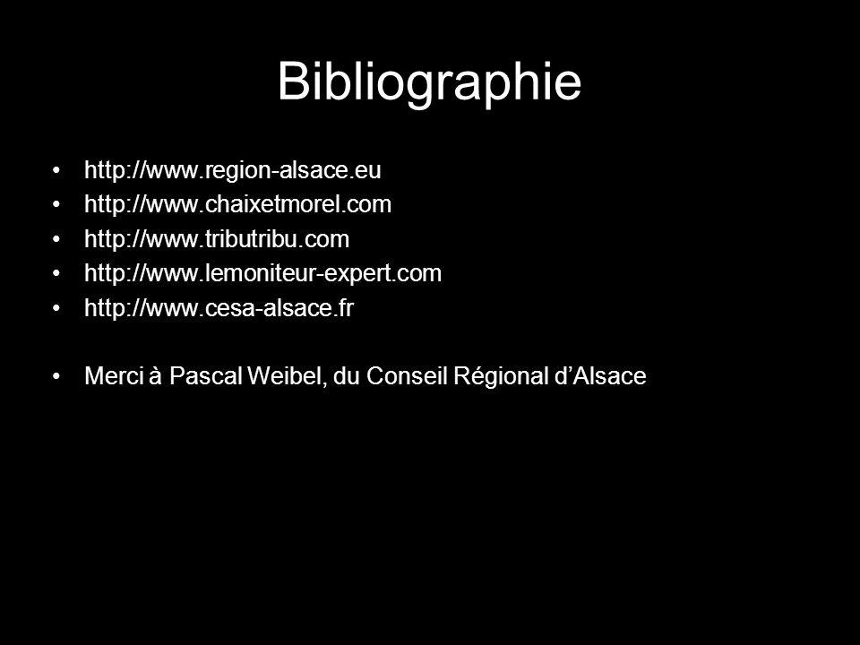Bibliographie http://www.region-alsace.eu http://www.chaixetmorel.com http://www.tributribu.com http://www.lemoniteur-expert.com http://www.cesa-alsac