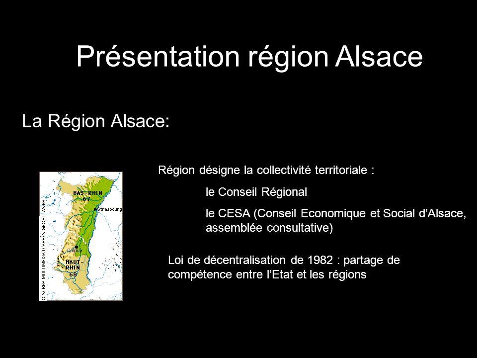 Présentation région Alsace La Région Alsace: Région désigne la collectivité territoriale : le Conseil Régional le CESA (Conseil Economique et Social d