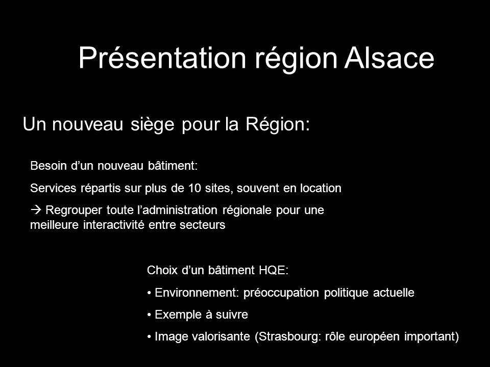 Présentation région Alsace Un nouveau siège pour la Région: Besoin dun nouveau bâtiment: Services répartis sur plus de 10 sites, souvent en location R