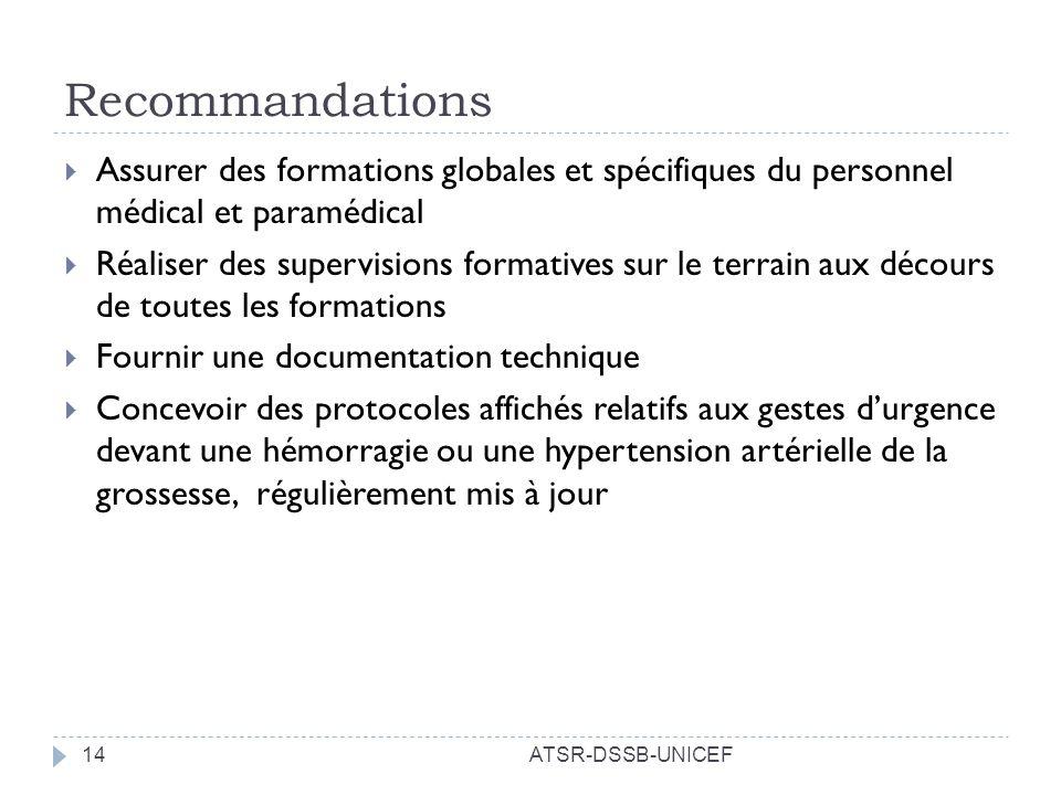 Recommandations ATSR-DSSB-UNICEF14 Assurer des formations globales et spécifiques du personnel médical et paramédical Réaliser des supervisions format