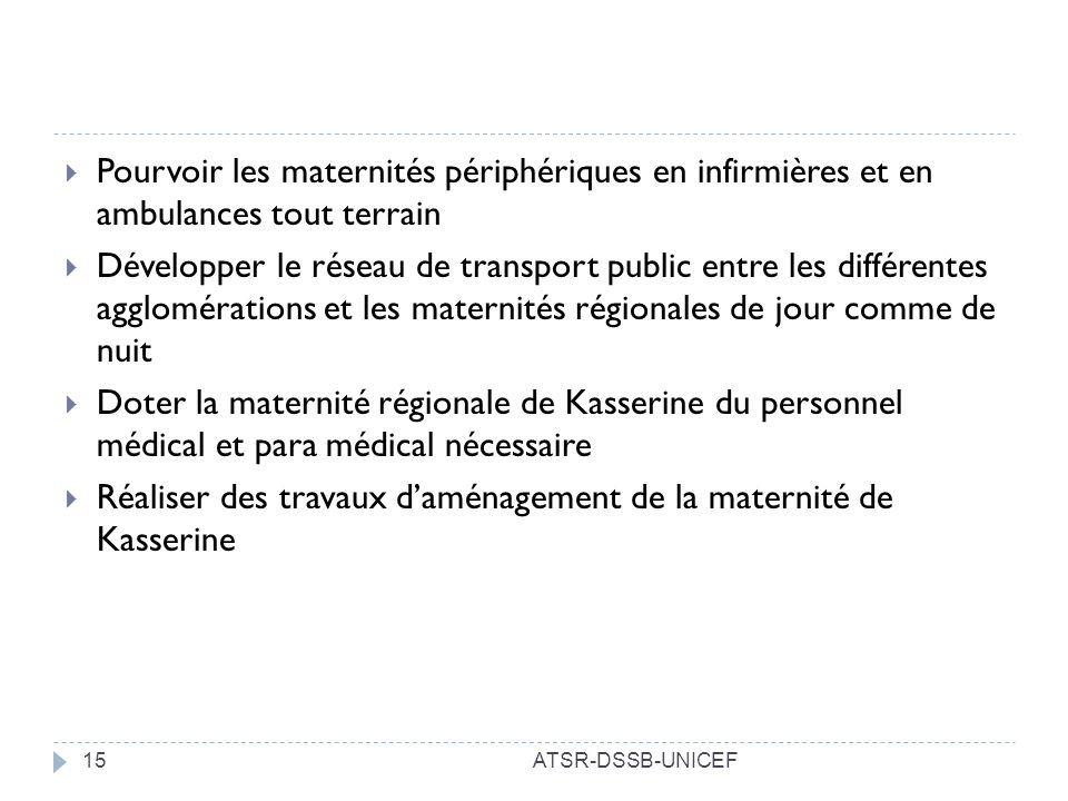 ATSR-DSSB-UNICEF15 Pourvoir les maternités périphériques en infirmières et en ambulances tout terrain Développer le réseau de transport public entre l