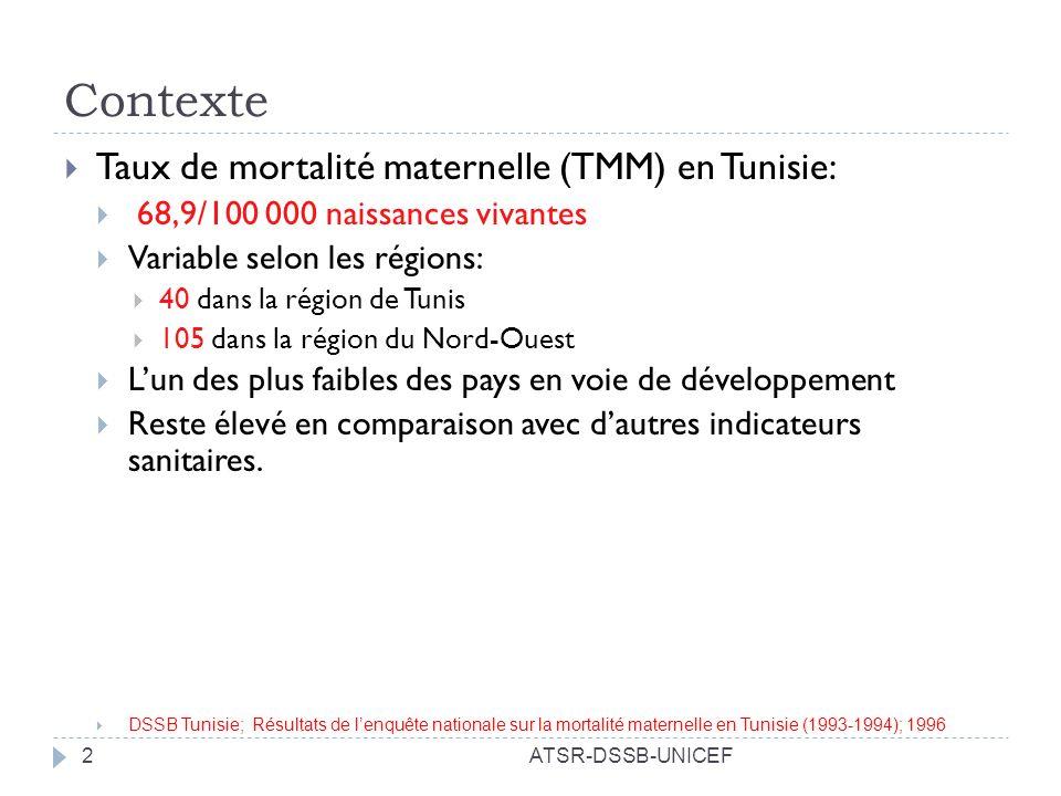 ATSR-DSSB-UNICEF13 Déficit de moyens de transport public entre certaines agglomérations et les maternités périphériques expliquant le fort taux daccouchement à domicile Locaux vétustes, mal entretenus avec une mauvaise hygiène dans la maternité régionale de Kasserine