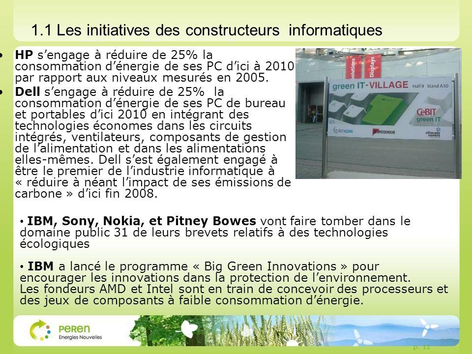 p. 11 1.1 Les initiatives des constructeurs informatiques HP sengage à réduire de 25% la consommation dénergie de ses PC dici à 2010 par rapport aux n