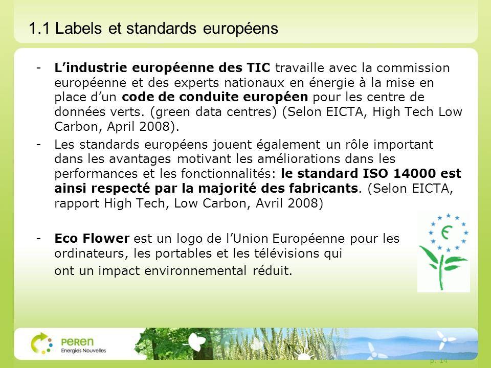 p. 14 1.1 Labels et standards européens -Lindustrie européenne des TIC travaille avec la commission européenne et des experts nationaux en énergie à l