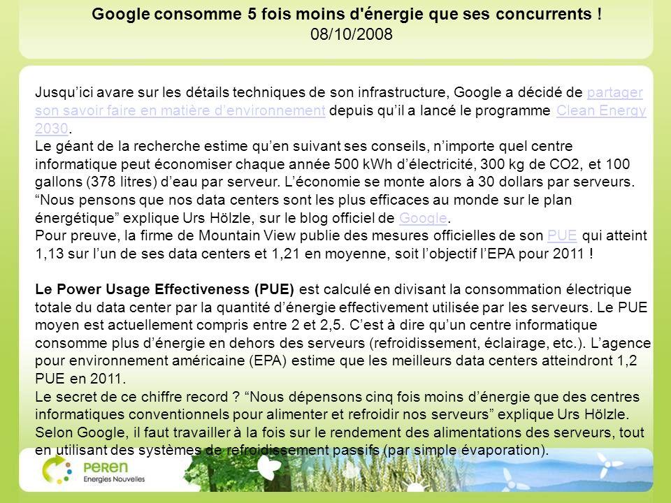 Jusquici avare sur les détails techniques de son infrastructure, Google a décidé de partager son savoir faire en matière denvironnement depuis quil a