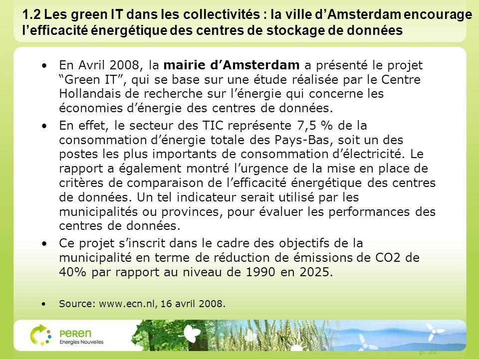 p. 20 1.2 Les green IT dans les collectivités : la ville dAmsterdam encourage lefficacité énergétique des centres de stockage de données En Avril 2008