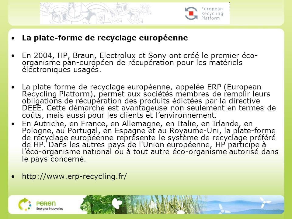 La plate-forme de recyclage européenne En 2004, HP, Braun, Electrolux et Sony ont créé le premier éco- organisme pan-européen de récupération pour les matériels électroniques usagés.
