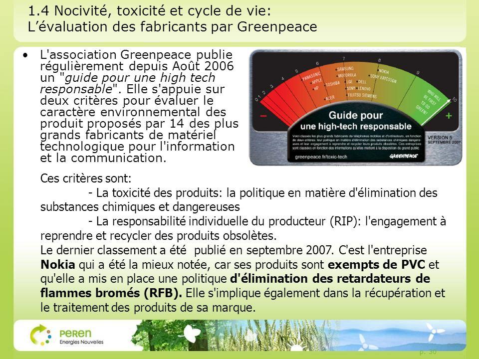 p. 30 1.4 Nocivité, toxicité et cycle de vie: Lévaluation des fabricants par Greenpeace L'association Greenpeace publie régulièrement depuis Août 2006
