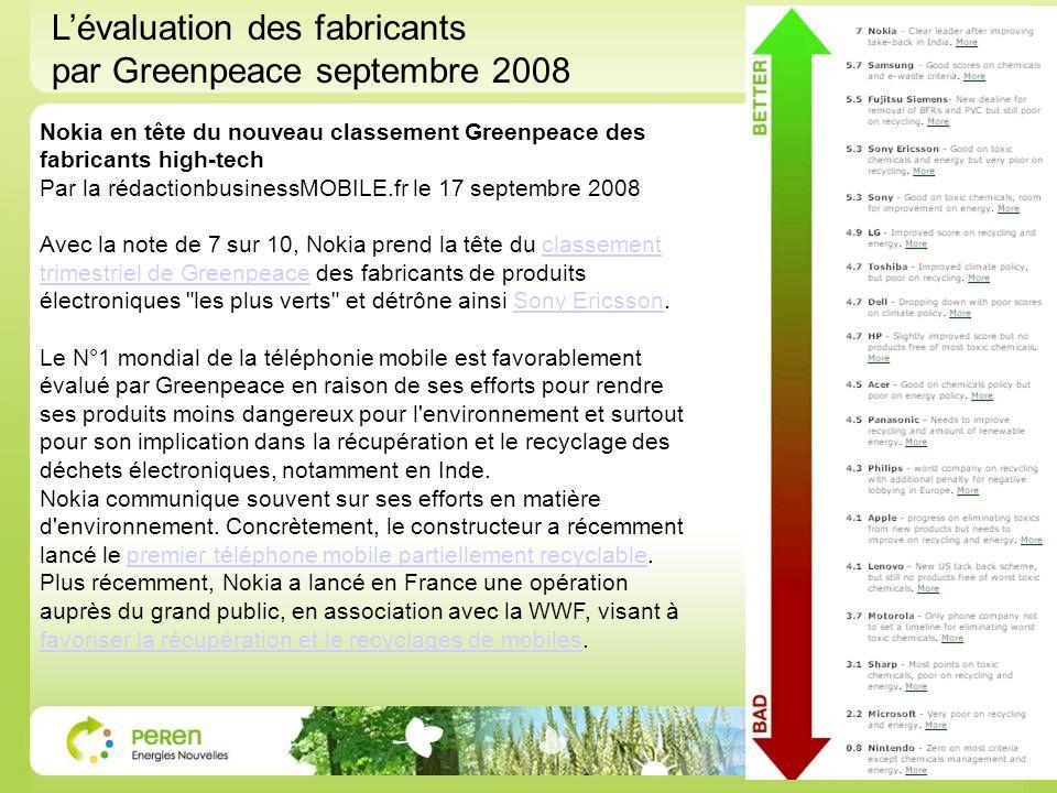 Nokia en tête du nouveau classement Greenpeace des fabricants high-tech Par la rédactionbusinessMOBILE.fr le 17 septembre 2008 Avec la note de 7 sur 1