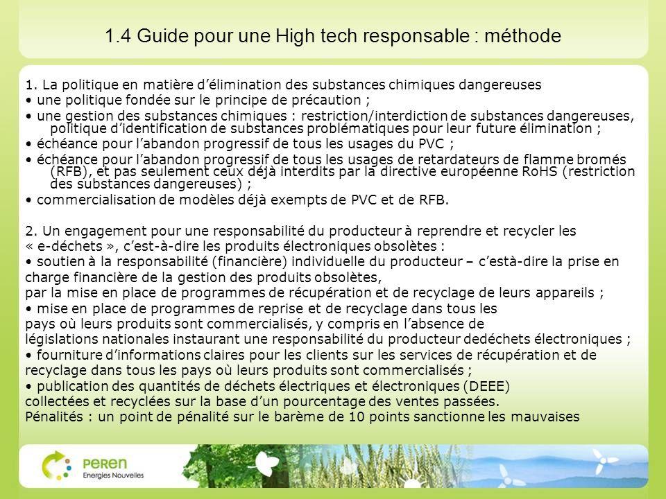 1.4 Guide pour une High tech responsable : méthode 1. La politique en matière délimination des substances chimiques dangereuses une politique fondée s