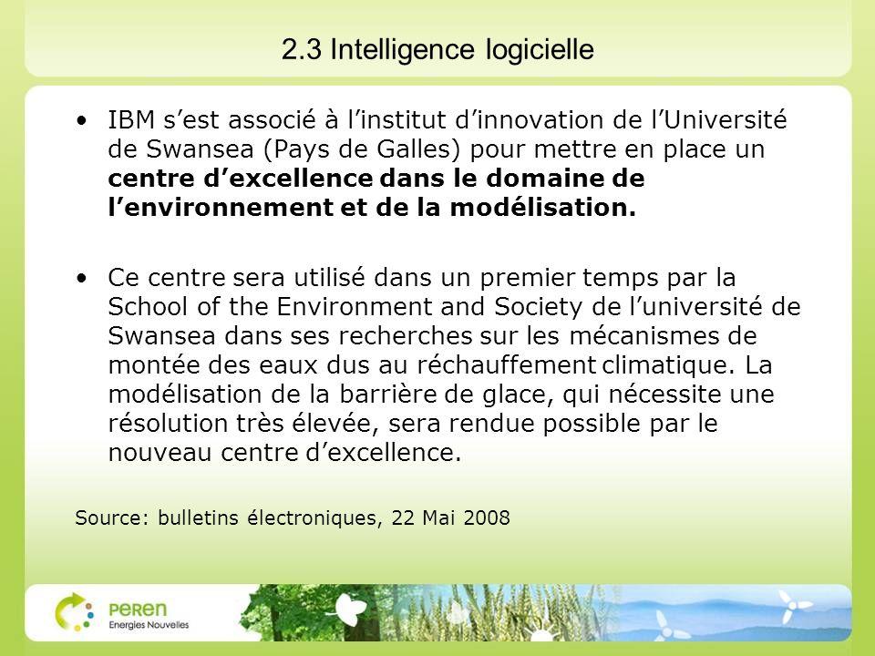 2.3 Intelligence logicielle IBM sest associé à linstitut dinnovation de lUniversité de Swansea (Pays de Galles) pour mettre en place un centre dexcellence dans le domaine de lenvironnement et de la modélisation.