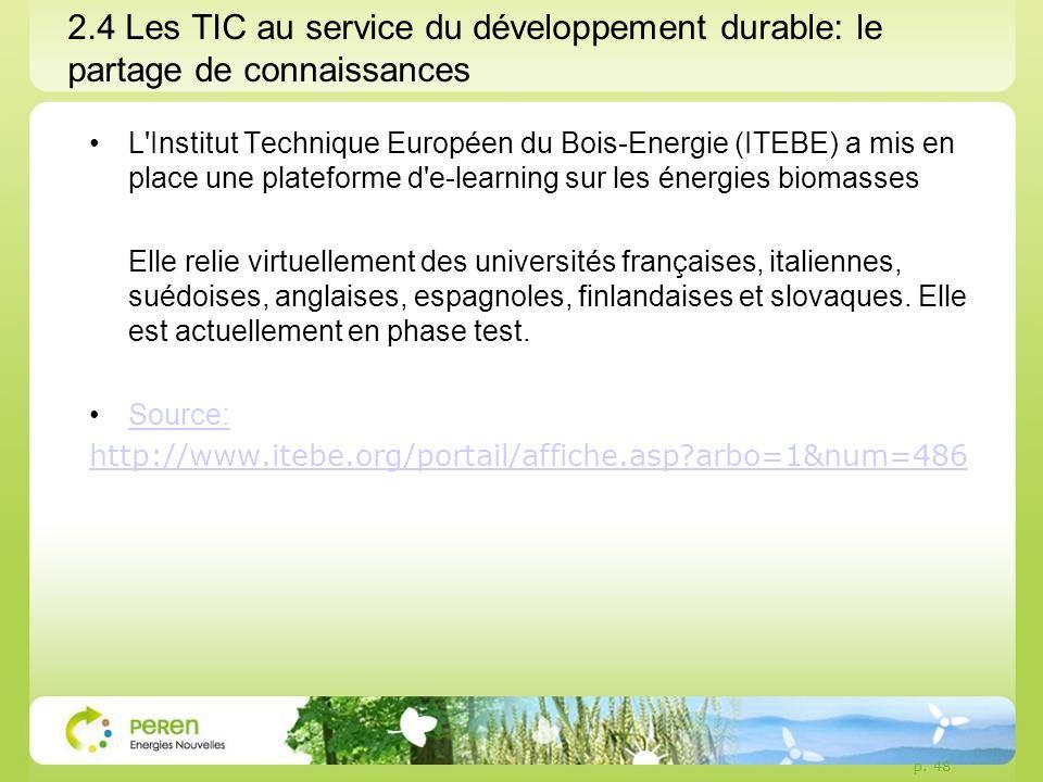 2.4 Les TIC au service du développement durable: le partage de connaissances L Institut Technique Européen du Bois-Energie (ITEBE) a mis en place une plateforme d e-learning sur les énergies biomasses Elle relie virtuellement des universités françaises, italiennes, suédoises, anglaises, espagnoles, finlandaises et slovaques.
