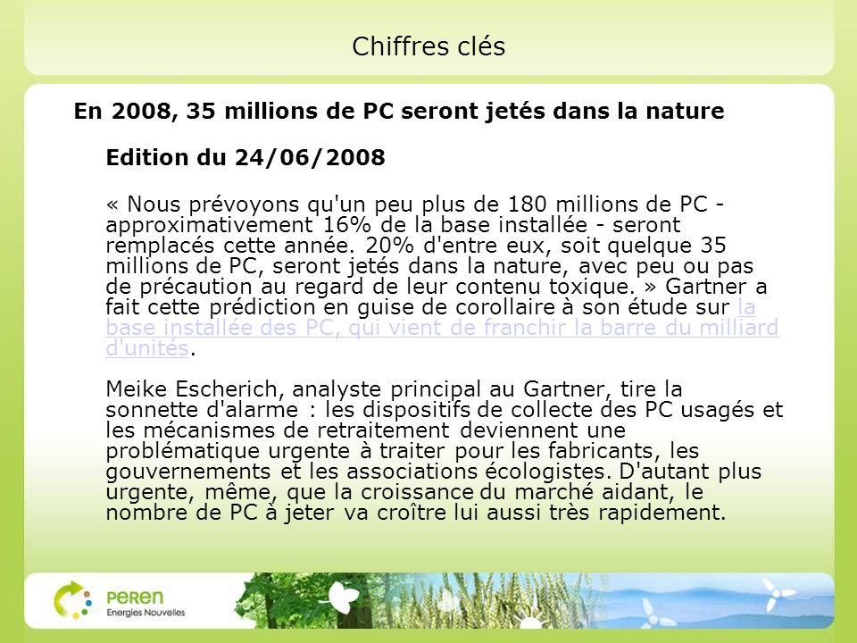 Eco organismes : http://www.erp-recycling.fr/ Le décret français n°2005-829 du 20 juillet 2005, transposant la directive européenne 2002/96/EC, impose aux producteurs (fabricants, importateurs, revendeurs sous leur marque) la responsabilité du financement et de lorganisation de lenlèvement et du traitement des Déchets dEquipements Electriques et Electroniques (DEEE).